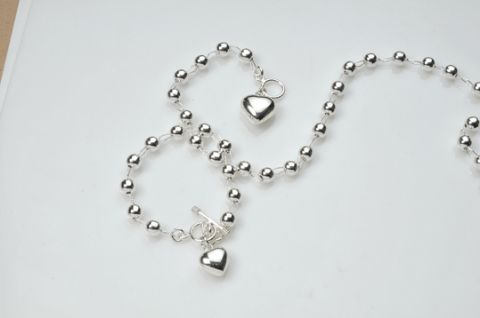 Sterling Silver Bead and Link Bracelet
